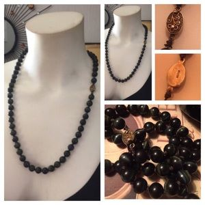 Vintage Laced Black Agate Bead Necklace